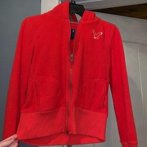 Jackets & Blazers - American eagle red/orange jacket with fur hoodie